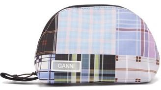 Ganni Plaid Patchwork Make-up Bag - Womens - Blue Multi