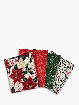 Visage Textiles Poinsettia Fat Quarter Fabrics, Pack of 4, Multi