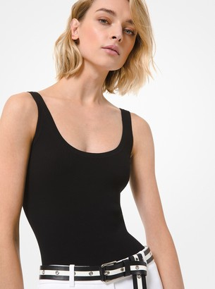 Michael Kors Ribbed Stretch Viscose Bodysuit