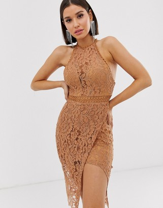 Love Triangle high neck lace dress with wrap skirt in caramel