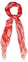 Alexander McQueen Skull and badge silk-chiffon scarf