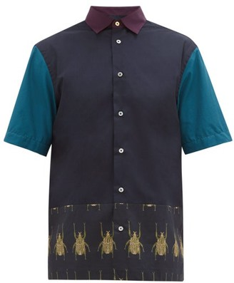 Paul Smith Colour-block Beetle-print Cotton Shirt - Mens - Navy