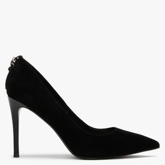 Daniel Veel Black Suede Embellished Court Shoes