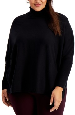 Alfani Plus Size Drop-Shoulder Turtleneck Sweater, Created for Macy's