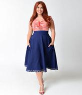 High Waisted Navy Blue Skirt - ShopStyle