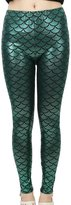 Simplicity Women's Full Ankle Length Fish Mermaid Printed Leggings, Green