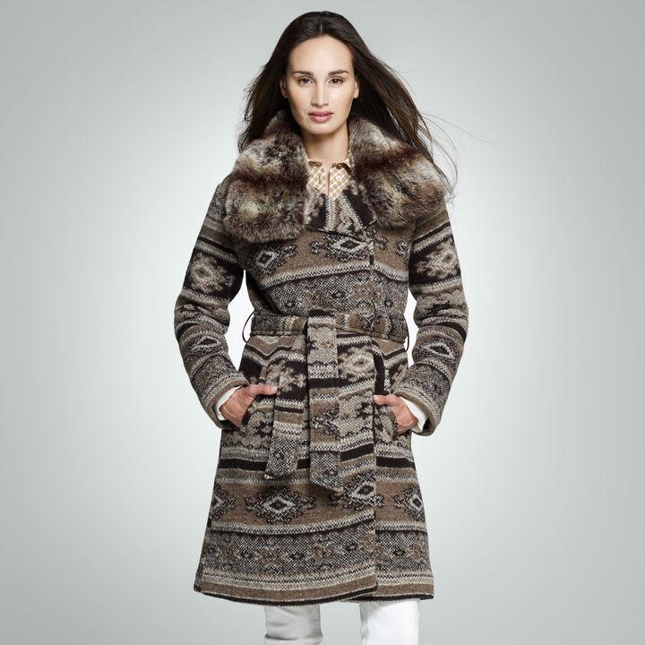 Jones New York Fairisle Belted Sweater Coat