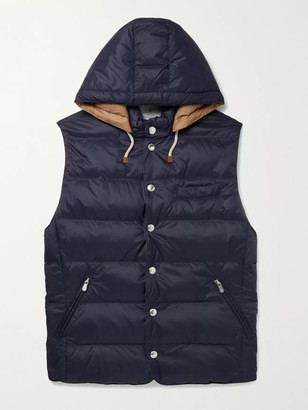 Brunello Cucinelli Quilted Shell Hooded Down Gilet