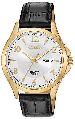 Citizen Quartz Mens Brown Leather Strap Watch-Bf2003-25a Family