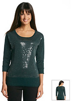 Amy Byer Lurex Knit Sequin Front Sweater