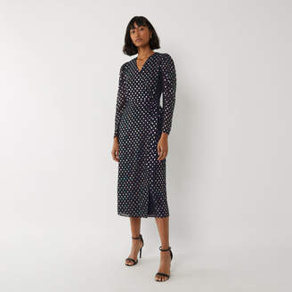Warehouse FOIL SPOT MIDI WRAP DRESS