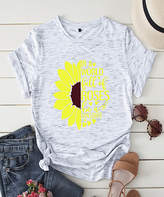 Basico Women's Tee Shirts Multicolor - Heather Gray 'In a World Full of Roses' Sunflower Tee - Women & Plus