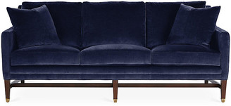 Michael Thomas Collection Arden Sofa - Lapis Velvet - frame, espresso; upholstery, navy; ferrules, brass