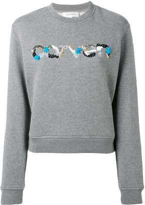 Carven Sequin Logo Round Neck Sweatshirt