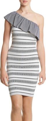 XOXO Women's One Shoulder Jacquard Stripe Pattern Dress White/Multi Medium