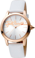 Just Cavalli 36mm Logo Watch w/ Leather Strap, Silver