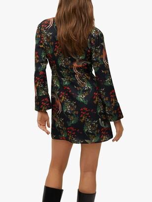 MANGO Oriental Print Flared Mini Dress, Black/Multi