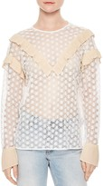 Sandro True Ruffle-Trimmed Lace Top