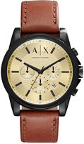 Armani Exchange A|X Men's Chronograph Outerbanks Dark Brown Leather Strap Watch 44mm AX2511
