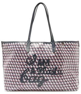 Anya Hindmarch I Am A Plastic Bag Recycled-canvas Tote Bag - Navy Multi