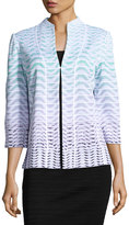 Ming Wang Ombre Wavy-Print Knit Jacket, Multi