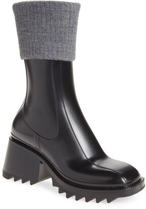 Chloé Betty Rib Cuff Waterproof Rain Boot