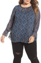 Daniel Rainn Plus Size Women's Ruffle Cuff Metallic Floral Blouse