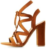 Charlotte Russe Bamboo Caged Lace-Up Block Heel Sandals