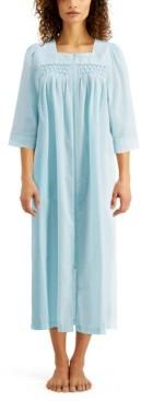 Miss Elaine Embroidered Seersucker Long Zip Up Robe