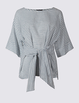 M&S Collection Linen Rich Striped Tie Front Shell Top
