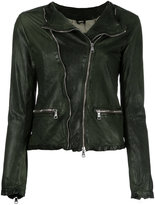 Giorgio Brato zip up jacket - women - Leather/Nylon/Cotton - 40