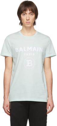 Balmain Green Flocked Logo T-Shirt