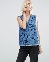 Pepe Jeans Denim Frayed Tank Top