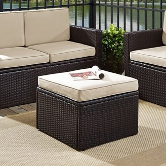 Crosley Furniture Palm Harbor Outdoor Wicker Ottoman in Brown with Sand Cushions