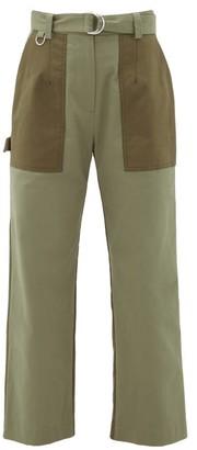 MSGM Panelled Cotton-gabardine Straight-leg Trousers - Khaki