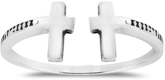 Aeravida Handmade Double Cross Open Wrap Sterling Silver Ring