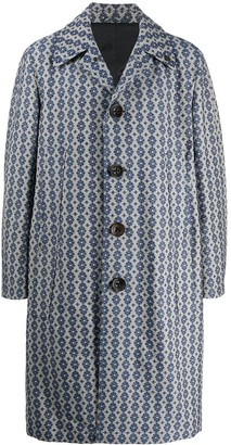 Gabriele Pasini Geometric Printed Cotton Linen Blend Coat