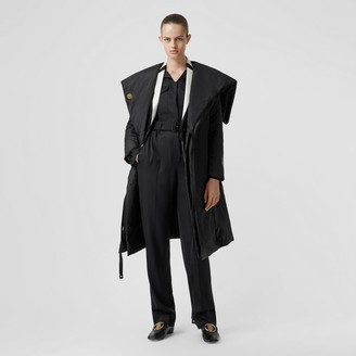 Burberry Cape Detail Silk Blend Wrap Coat