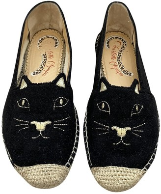 Charlotte Olympia Kitty Black Cloth Espadrilles