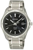 Seiko Sne141p1 Solar Powered Titanium Bracelet Strap Watch, Silver/black