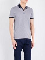 HUGO BOSS Slim-fit striped cotton-jersey polo shirt