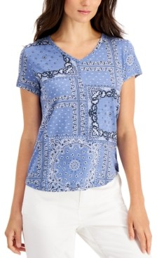 Style&Co. Style & Co Petite Printed Cotton V-Neck Top, Created for Macy's