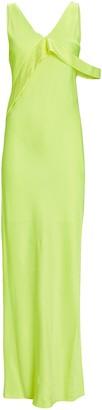 Helmut Lang Satin Sash Front Maxi Dress