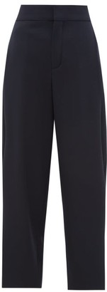Chloé Pleat-front Cropped Wool-blend Trousers - Womens - Navy