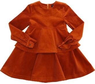 Oscar de la Renta Tiered Cotton Corduroy Dress
