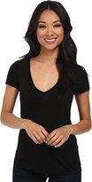 Three Dots Women's Short Sleeve Light Weight V-Neck