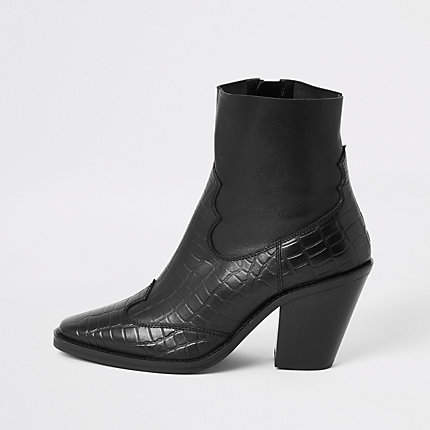 River Island Black croc leather western ankle boots
