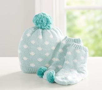 Pottery Barn Kids Dot Knit Sherpa Hat & Bootie Set