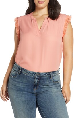 Gibson Woven Pleated V-neck Top