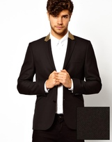 ASOS Slim Fit Blazer with Gold Lapel